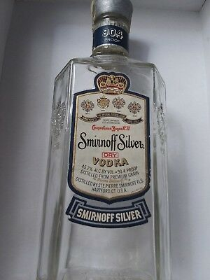 Vintage Smirnoff Silver Vodka Bottle 1950 1960