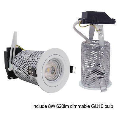 GU10 8W Dimmable 70mm Downlight Frame with mesh can Fire Protect White