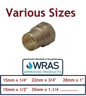 End Feed to Iron Female Coupling Fitting Brass Coupler - Various Sizes