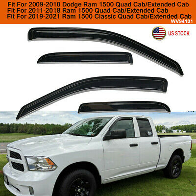 Window Visor Sun Rain Guards For 2009-2018 Dodge Ram 1500 Quad Cab Vent Shades
