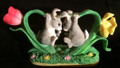 """Charming Tails """"Bunny Buddies"""" Figurine 89/619 by DEAN GRIFF Heart Shaped Design"""