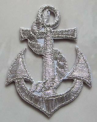 Beautiful Silver Anchor Embroidered Iron on Patch Free Shipping