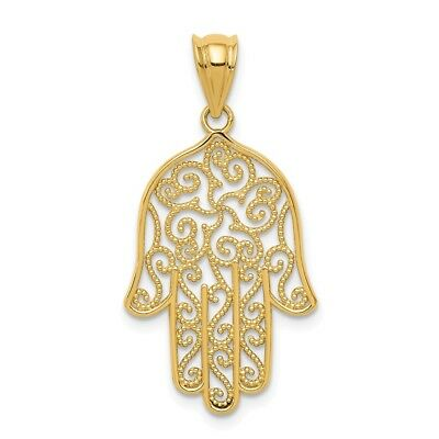 14k Yellow Gold Filigree Hamsa Pendant Charm Necklace Religious Judaica Fine