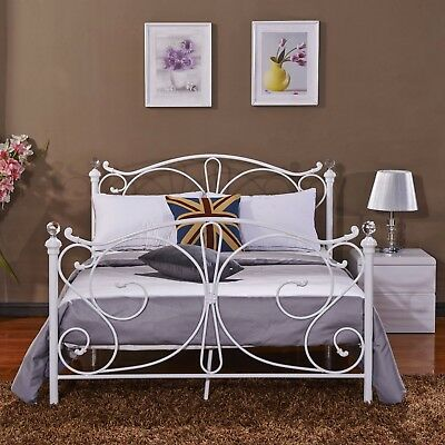 4FT Small Double Metal Bed Frame Solid Bedstead with Crystal Finials Bedroom