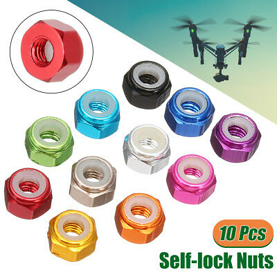 10Pcs Metal M3 Self-locking Nylon Nut Aluminum Alloy Multi-color Self-lock Nuts