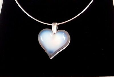 Lalique Opalescent Large Heart Adjustable 925 Silver Chain Outstanding