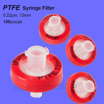 10X PTFE Syringe Filter 13mm 0.22μm Non Sterilized HPLC GC Analysis Hydrophilic