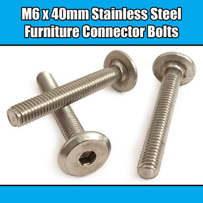 M6 x 45mm Bronze Furniture Connector Bolts Joint Fixing Bed Cot Unit Table Desk