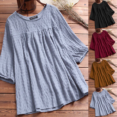 AU Womens Summer Round Neck Loose Shirt Casual Vintage Tops Plus Size T Shirts