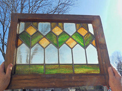 Antique STAINED LEADED GLASS CUPBOARD, PANTRY DOOR / window