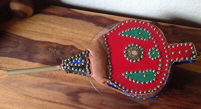 Vintage Collectible Fireplace Bellows Repurposed~ Studded And Painted~Large