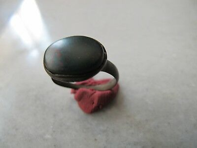 Antique Late Medieval Bronze Ring With Heliotrope Stone