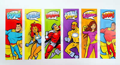 Superhero Bookmarks - Book Reading School Party Bag Fillers Pack Sizes 6 - 48