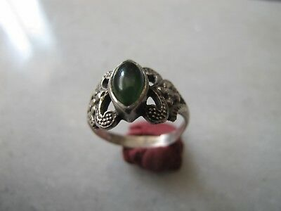 Antique Late Medieval Silver Ring With Jade Stone