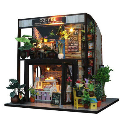 1 DIY Wooden Toy Doll House Miniature Kit Caravan Dollhouse Music LED Light Gift