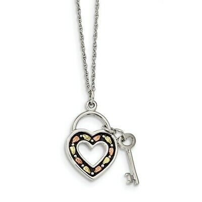 925 Sterling Silver 12k Heart Key Chain Necklace Ring Pendant Charm S/love Fine