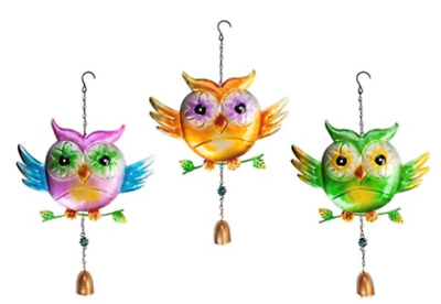 New Large Owl Windchimes  3 Designs Garden Outdoor Decor Home Plaque