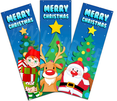 Christmas Bookmarks - Book Reading School Party Bag Fillers Pack Size 6 - 48