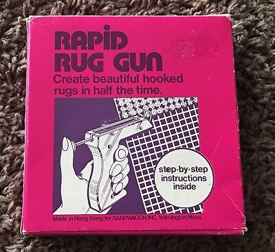 Htf Vintage Rapid Rug Gun For Latch Hook With Instructions Box