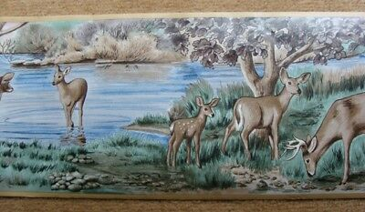 Wallpaper Border Dado Watercolour Painting of Deer Drinking from River Wall Deco
