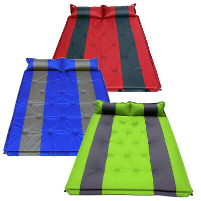 Portable Double Self Inflating Camping Camp Sleeping Mat Mattress Green / Red