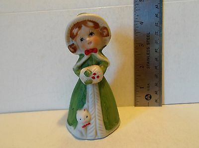 Antique Porcelain/Bone China Girl Bell with Kitty