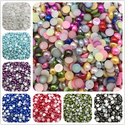 4-10mm Imitation Pearl Half Round Pearl Bead Flat Back Scrapbook Women Nail Art