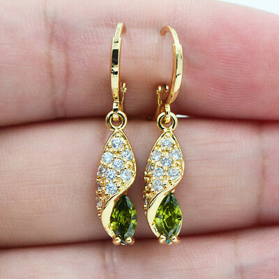 18K Yellow Gold Filled Marquise Olive Green Topaz Zircon Earrings Women Jewelry