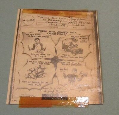 WWII 1944 Illustrated Christmas Card V-Mail 4 Leaf Holly GI Chow Santa in Jeep