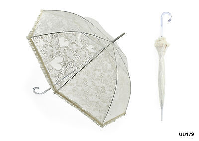 Drizzled Frilled Ivory Wedding Bridal Umbrella with Frill & Crook Handle Brolly
