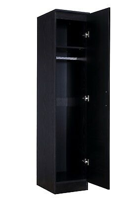 REFLECT Bedroom Slim High Gloss Single 1 Door Soft Close Wardrobe in Black + Oak