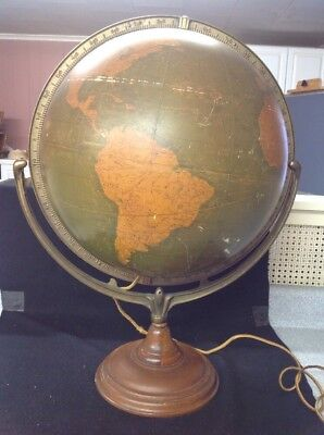 "Vintage Antique Large Cram's Early 16"" Political Terrestrial Globelight Up Lamp"