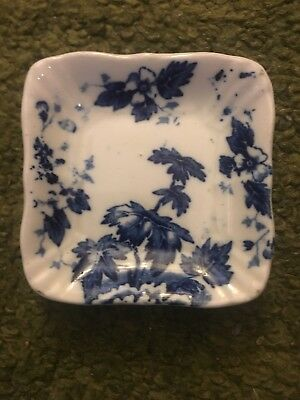 Butter Pat John Maddock & Sons Royal Vitreous Blue & White Dish