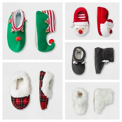 Kid and Toddler Slippers - Santa, Elf, Reindeer, Fuzzy, Plaid Styles