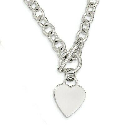 925 Sterling Silver Heart Link Toggle Chain Necklace Pendant Charm S/love Fine