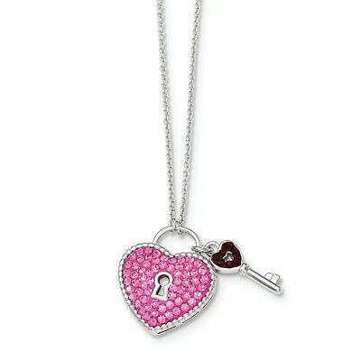 925 Sterling Silver Crystal Pink Heart Key Chain Necklace Pendant Charm S/love
