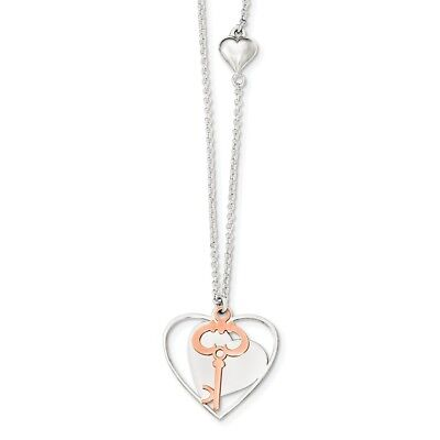 925 Sterling Silver Rose Tone Moveable Heart Key Chain Necklace Pendant Charm
