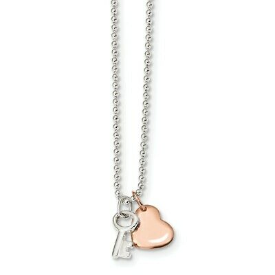 925 Sterling Silver Rose Tone Heart Key 19 Inch Chain Necklace Pendant Charm