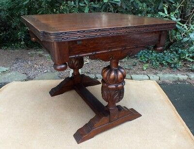 Antique 1/4 Sawn Oak Expansion Dining Table w Jacobean Style Carved Trestle Base