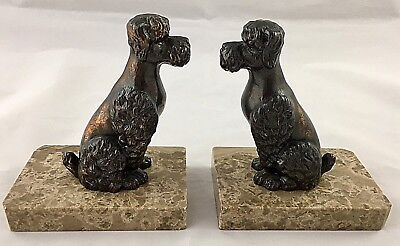 Art Deco Bronzed Spelter Poodle Dog Bookends on Marble Plinths