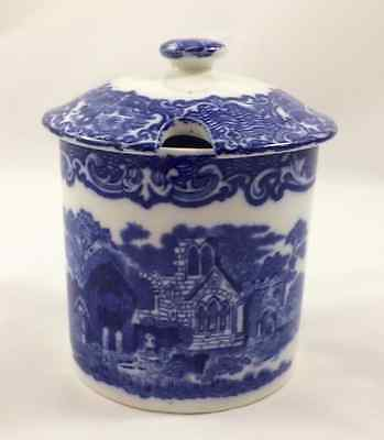 Antique Abbey Preserve Pot & Lid – Blue & White Design by George Jones & Sons