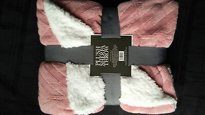 Plush Sherpa Throw Blanket 50x60 Baby Pink and White Reversible