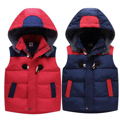 Kids Boys Girls Detach Hooded Body Warmer Gilet Padded Fleece Vest Puffer Jacket