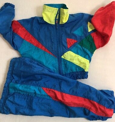VTG 80s 90s Boys Blue toddler WINDBREAKER TRACK SUIT SZ 12 Mo Girls Pockets