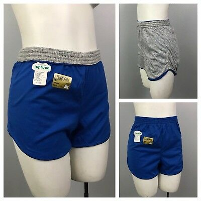 Vintage NOS 1980s Blue and Gray Reversible Cotton Blend High Waist Gym Shorts S