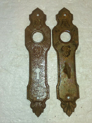 Vintage Ornate Stamped Metal Door Knob Back Plates