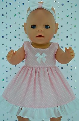 "Play n Wear Doll Clothes To Fit 17"" Baby Born  PINK POLKA DOT DRESS~HEADBAND"