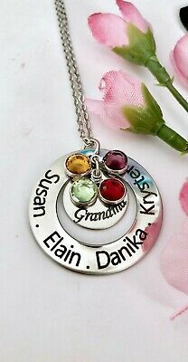 Personalized stainless steel name/birthstones Necklace Gift for Grandma/mom/nana