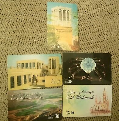 "UAE Phone Cards, Lot of 5, Sold For 30 Dirhams Each, Etisalat, 2"" x 3 1/4"""