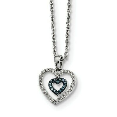 925 Sterling Silver Blue White Diamond Heart Pendant Chain Necklace Charm